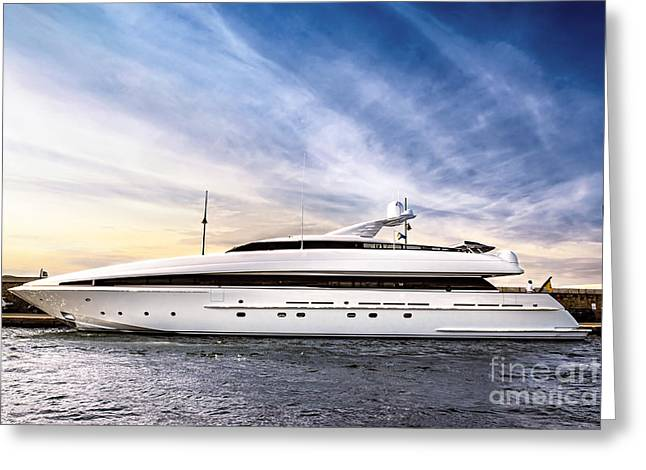 Tropez Greeting Cards - Luxury yacht Greeting Card by Elena Elisseeva