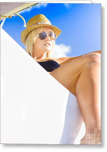 Suntanning Greeting Cards - Luxury Yacht Greeting Card by Ryan Jorgensen
