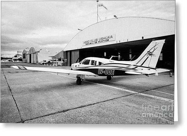 Ode Greeting Cards - lv-ode piper pa-28 archer light aircraft aeroclub Ushuaia Argentina Greeting Card by Joe Fox