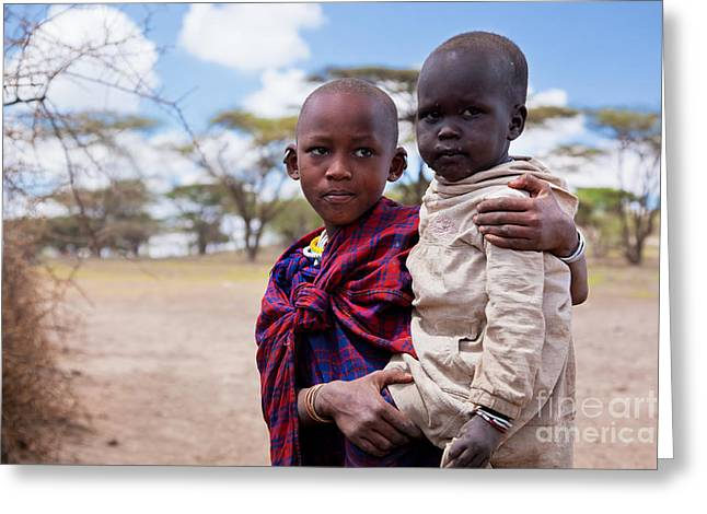 Tribal Decoration Greeting Cards - Maasai children portrait in Tanzania Greeting Card by Michal Bednarek