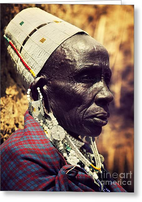 Colorful Village Greeting Cards - Maasai old woman portrait in Tanzania Greeting Card by Michal Bednarek