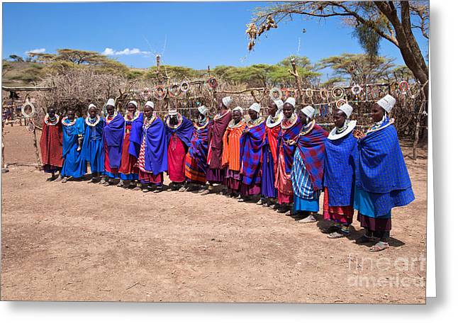Apparel Greeting Cards - Maasai women in their village in Tanzania Greeting Card by Michal Bednarek