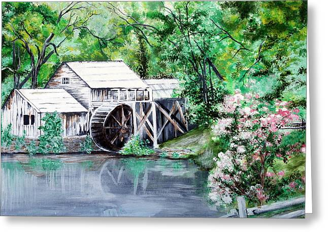 Grist Mill Paintings Greeting Cards - Mabry Mill Greeting Card by Vickie Wright