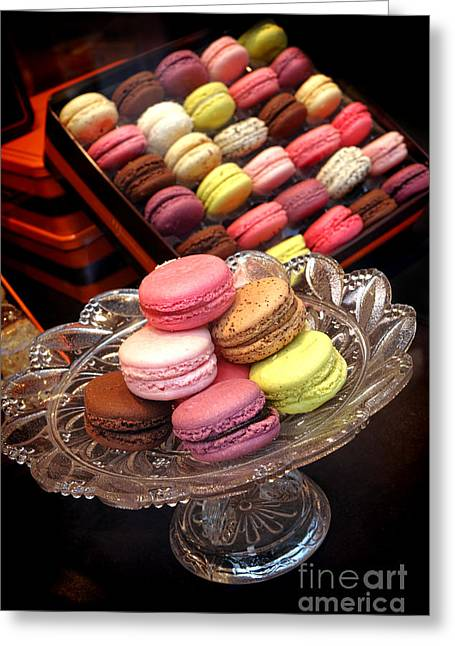 Colored Glass Greeting Cards - Macaroons Greeting Card by Olivier Le Queinec