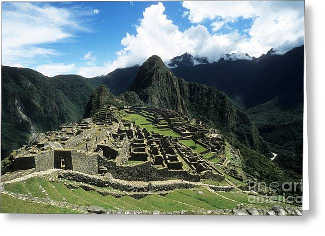 Lost City Greeting Cards - Machu Picchu Panorama Greeting Card by James Brunker