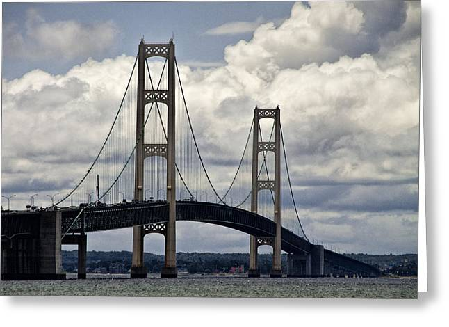 Mackinaw City Greeting Cards - Mackinaw Bridge by the Straits of Mackinac Greeting Card by Randall Nyhof