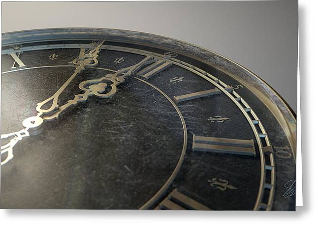 Embellished Greeting Cards - Macro Antique Watch Midnight Greeting Card by Allan Swart
