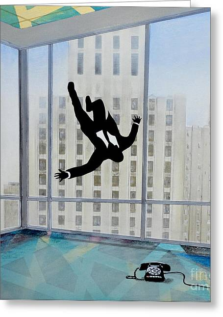Recently Sold -  - 1960 Greeting Cards - Mad Men Falling Man Greeting Card by John Lyes