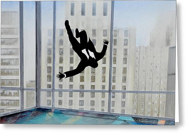 Television Paintings Greeting Cards - Mad Men Falling Man Greeting Card by John Lyes