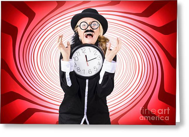 Clever Greeting Cards - Mad scientist in space time warp  Greeting Card by Ryan Jorgensen