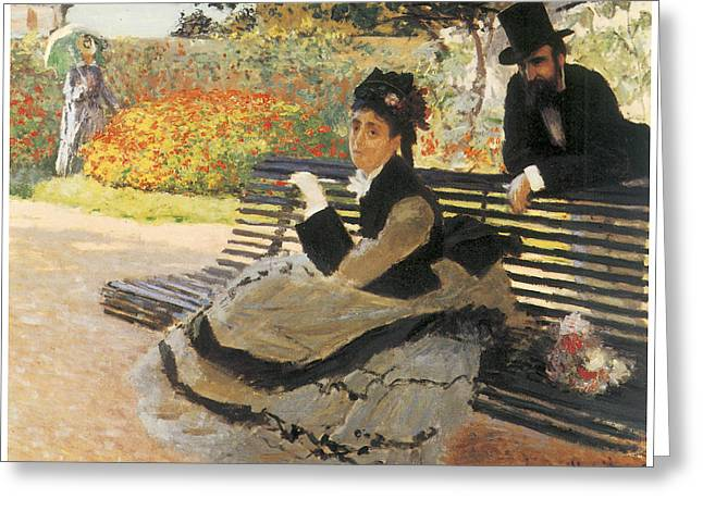 Woman In A Dress Greeting Cards - Madame Monet on a Garden Bench Greeting Card by Claude Monet