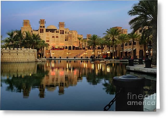 Boat Pyrography Greeting Cards - Madinat Jumeirah in Dubai Greeting Card by Jelena Jovanovic