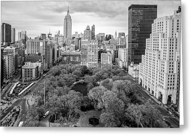 Flatiron Greeting Cards - Madison Square Park Birds Eye View Greeting Card by Susan Candelario