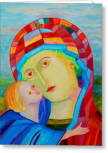 Byzantine Mixed Media Greeting Cards - Madonna and Child colorful icon Greeting Card by Magdalena Walulik