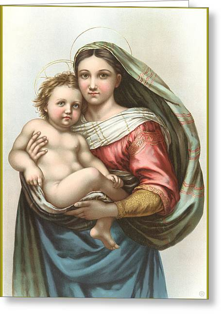 Religious Digital Art Greeting Cards - Madonna and Child Greeting Card by Gary Grayson