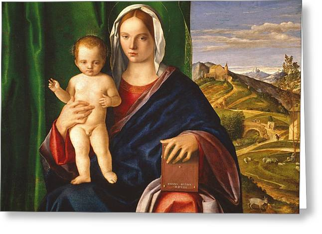 Christ Child Greeting Cards - Madonna and Child Greeting Card by Giovanni Bellini