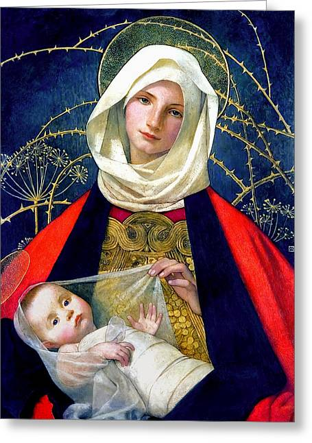 Jesus Thorns Greeting Cards - Madonna and Child Greeting Card by Marianne Stokes