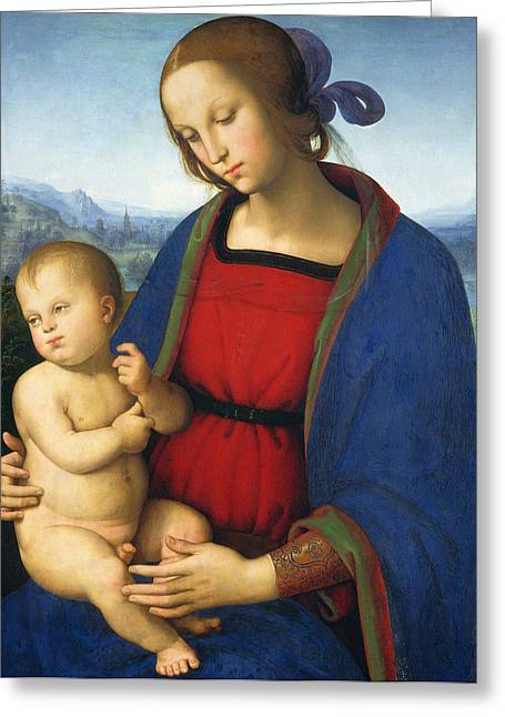 Christ Child Greeting Cards - Madonna and Child Greeting Card by Pietro Perugino