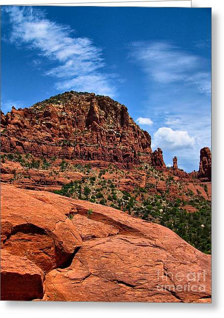 Breathtaking Greeting Cards - Madonna and Child Two Nuns Rock Formations Sedona Arizona Greeting Card by Amy Cicconi