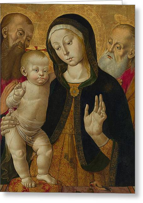 Religious work Paintings Greeting Cards - Madonna and Child with Two Hermit Saints Greeting Card by Bernardino Fungai