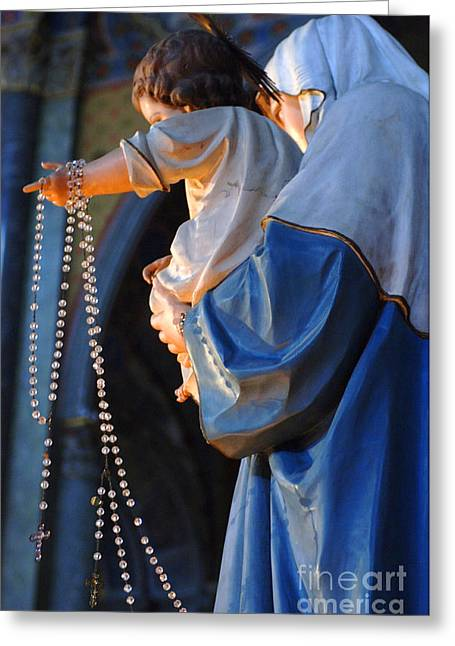 Rosary Greeting Cards - Madonna and Jesus Greeting Card by Bob Christopher