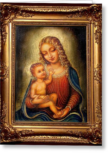 Jesus And The Children Print Paintings Greeting Cards - Madonna Beata Greeting Card by Ananda Vdovic
