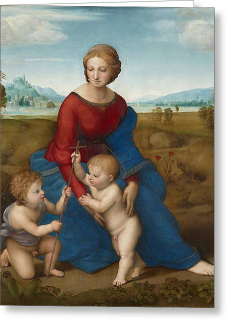 1506 Greeting Cards - Madonna in the Meadow Greeting Card by Raphael