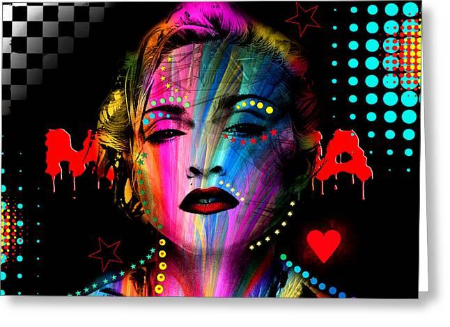 Pop Mixed Media Greeting Cards - Madonna Greeting Card by Mark Ashkenazi