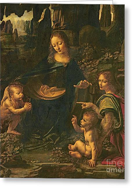 Innocence Greeting Cards - Madonna of the Rocks Greeting Card by Leonardo da Vinci