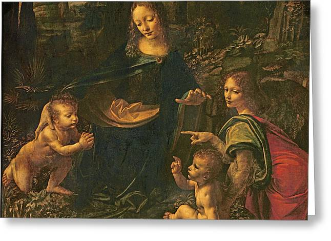 Madonna of the Rocks Greeting Card by Leonardo da Vinci