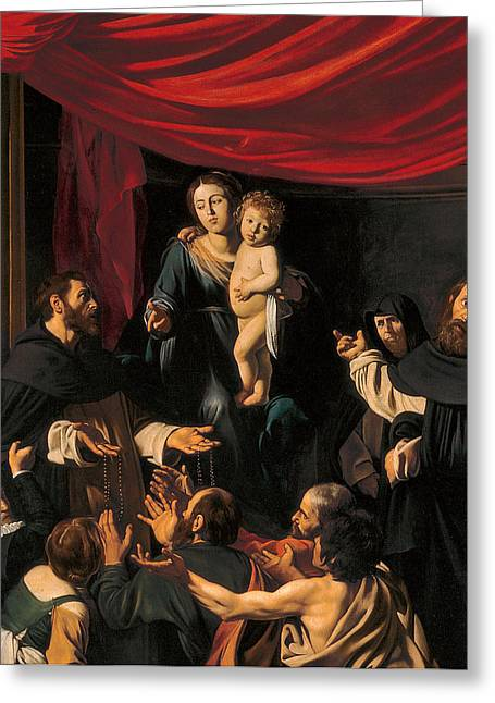 Michelangelo Caravaggio Greeting Cards - Madonna of the Rosary Greeting Card by Caravaggio