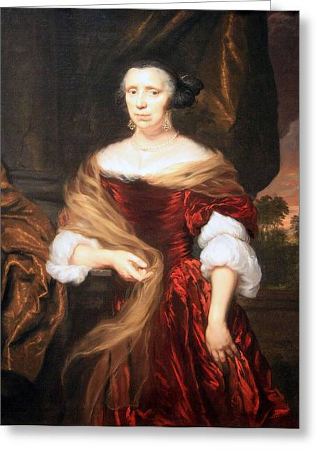 Lady Washington Greeting Cards - Maes Portrait Of A Lady Greeting Card by Cora Wandel