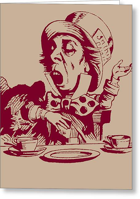 Dormouse Greeting Cards - Magenta Mad Hatter  Greeting Card by