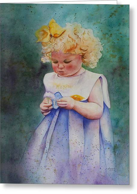 Patsy Sharpe Paintings Greeting Cards - Maggies Dandelion Greeting Card by Patsy Sharpe