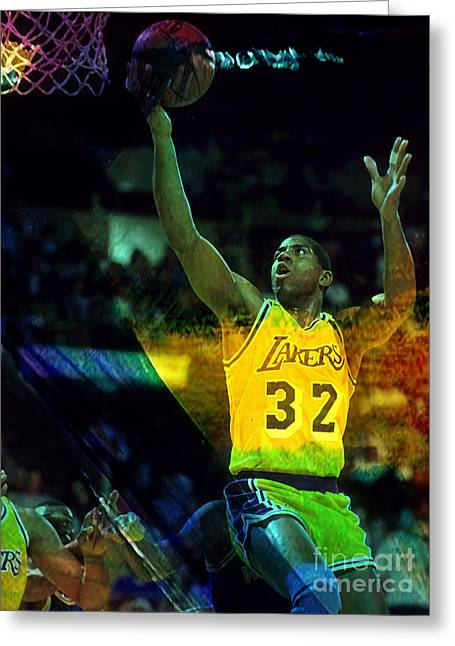 Lakers Mixed Media Greeting Cards - Magic Johnson Greeting Card by Marvin Blaine