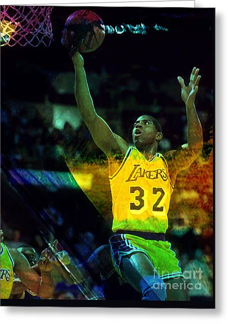 Magic Johnson Greeting Card by Marvin Blaine