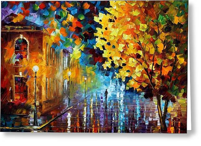 Owner Greeting Cards - Magic Rain Greeting Card by Leonid Afremov
