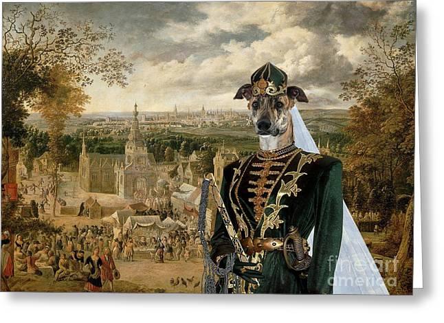 Greyhound Dog Greeting Cards - Magyar Agar - Hungarian Greyhound Art Canvas Print Greeting Card by Sandra Sij