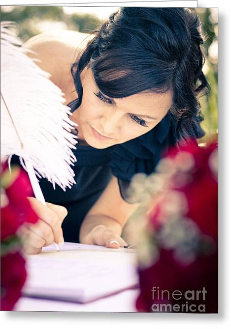 Matron Greeting Cards - Maid Of Honour Signing Wedding Registar Greeting Card by Ryan Jorgensen