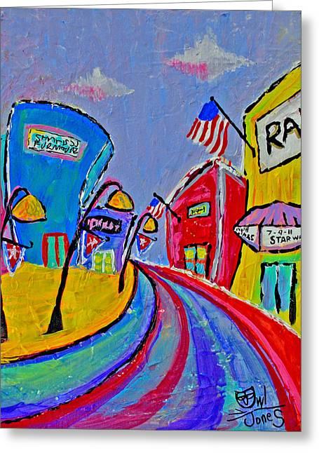 Main Street Usa Greeting Card by Owl Jones