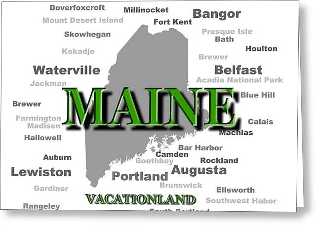Vacationland Greeting Cards - Maine State Pride Map Silhouette  Greeting Card by Keith Webber Jr