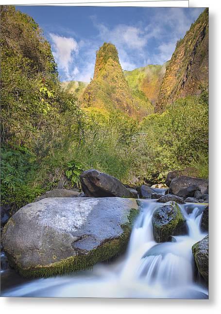 Majestic Iao Needle Greeting Card by Hawaii  Fine Art Photography