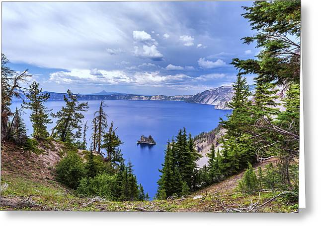 Crater Lake View Greeting Cards - Majestic Overlook Greeting Card by Joseph S Giacalone