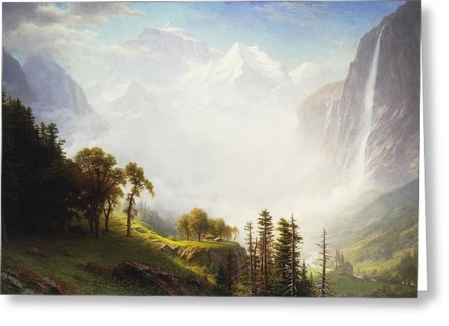 Rural Schools Paintings Greeting Cards - Majesty of the Mountains Greeting Card by Albert Bierstadt