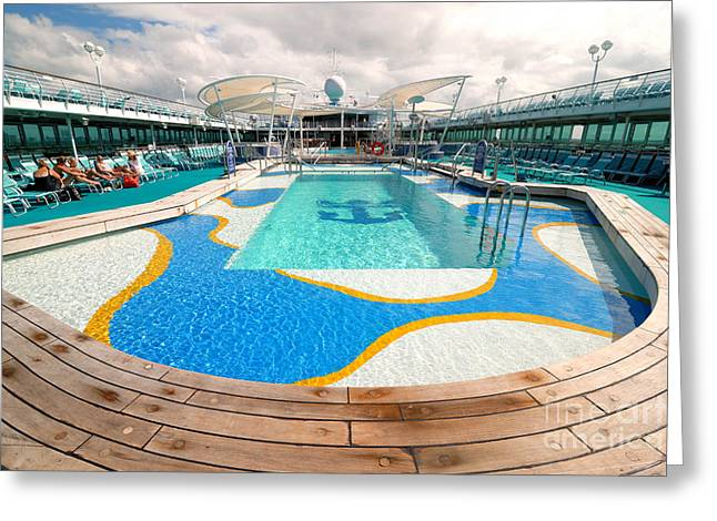 Cruise Vacation Greeting Cards - Majesty of the Seas Pool  Greeting Card by Amy Cicconi