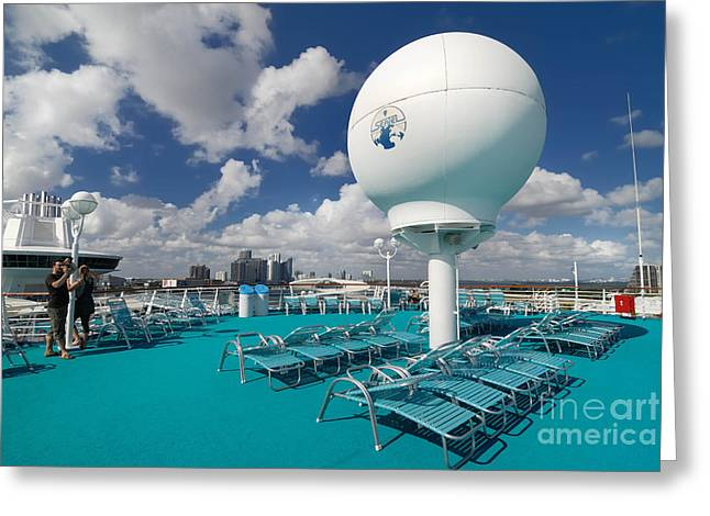 Cruise Ships Greeting Cards - Majesty of the Seas Upper Deck Satellite Equipment Greeting Card by Amy Cicconi
