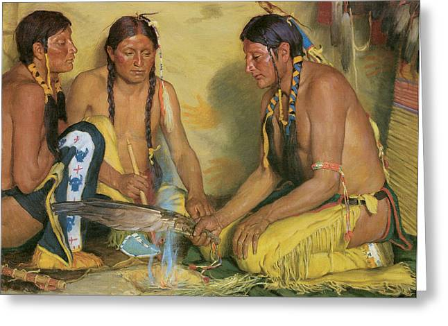 Chief Joseph Greeting Cards - Making Sweet Grass Medicine Blackfoot Ceremony Greeting Card by Joseph Henry Sharp
