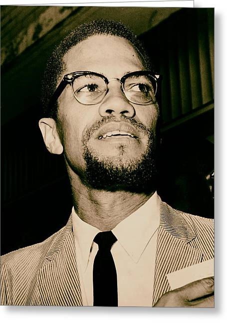 African American History Greeting Cards - Malcolm X 1963 Greeting Card by Mountain Dreams