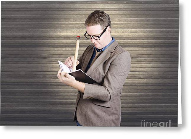 Cartoony Greeting Cards - Male administration clerk writing diary notes Greeting Card by Ryan Jorgensen