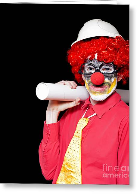 Male Architect Clown Holding Bad Construction Plan Greeting Card by Jorgo Photography - Wall Art Gallery